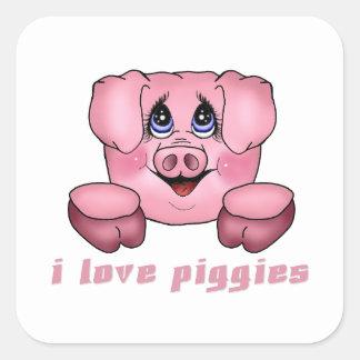 I Love Piggies Square Sticker
