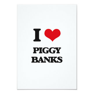 "I love Piggy Banks 3.5"" X 5"" Invitation Card"
