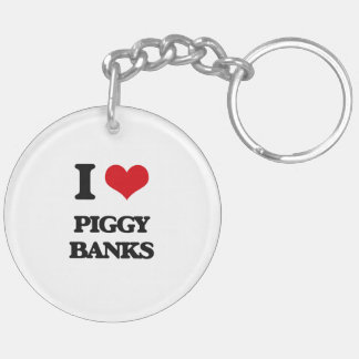 I love Piggy Banks Double-Sided Round Acrylic Keychain