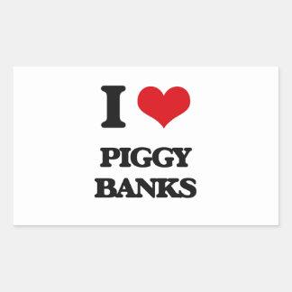 I love Piggy Banks Rectangular Sticker