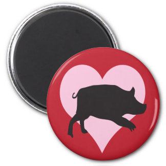 I Love Pigs 6 Cm Round Magnet