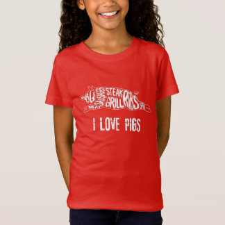 I love pigs. Funny Anti Vegan. Meat Lover Nerd T-Shirt