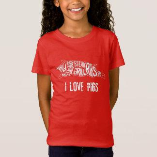 I love pigs. Funny Anti Vegan. Meat Lover Nerd T-Shirt