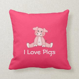 I Love Pigs Pillow Throw Cushion