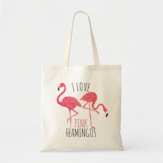 I Love Pink Flamingos Text & Birds Illustration Tote Bag