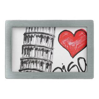 I love Pisa Rectangular Belt Buckle