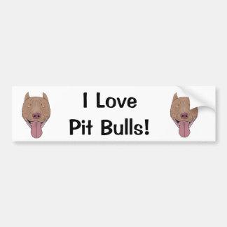 I Love Pit Bulls! - Smiling Pit Bull Portrait Car Bumper Sticker