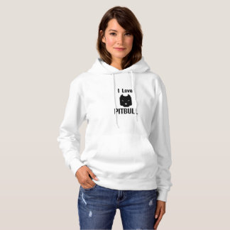 I Love Pitbull  Dog Pet puppy Gift Funny Hoodie