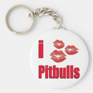 I Love Pitbull Dogs, Lipstick Kisses Crazy Basic Round Button Key Ring