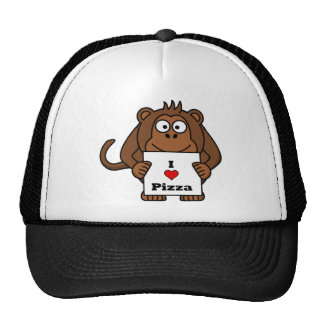 I Love Pizza Monkey Cap
