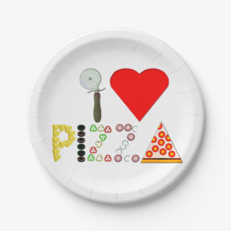 I Love Pizza Paper Plate