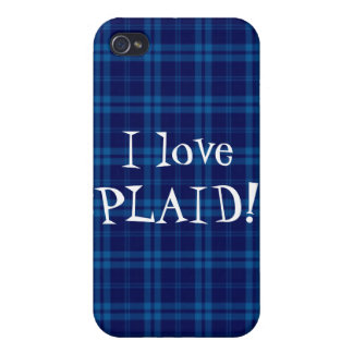 I Love Plaid- Royal Blue Covers For iPhone 4