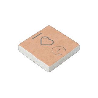 I Love Plain Crescents Stone Magnet