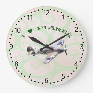 I Love Planes - Hawker Hurricane Large Clock