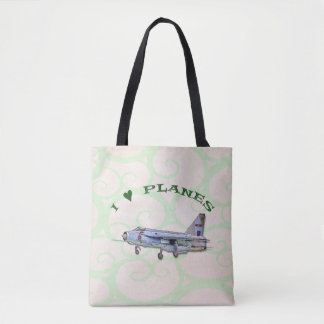I Love Planes - Lightning Jet Tote Bag