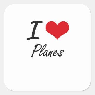 I Love Planes Square Sticker