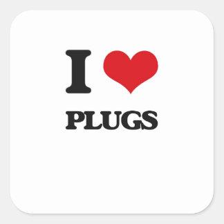 I Love Plugs Square Sticker
