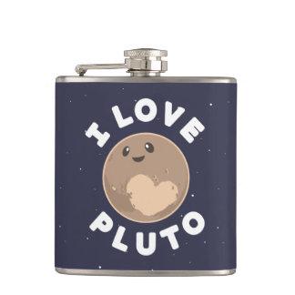 I Love Pluto Hip Flask