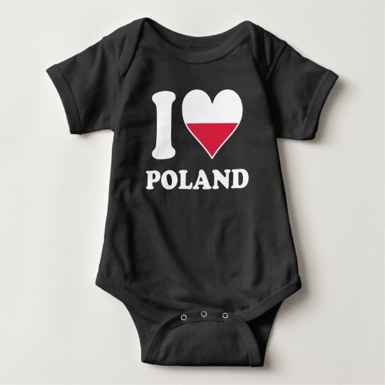 I Love Poland Polish Flag Heart Baby Bodysuit