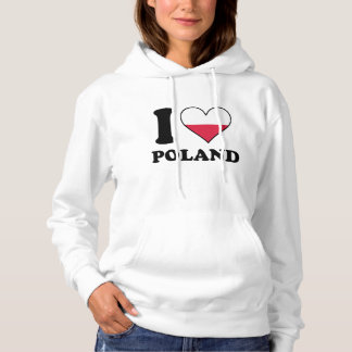 I Love Poland Polish Flag Heart Hoodie