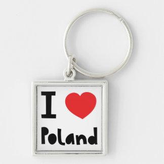 I love Poland Silver-Colored Square Key Ring