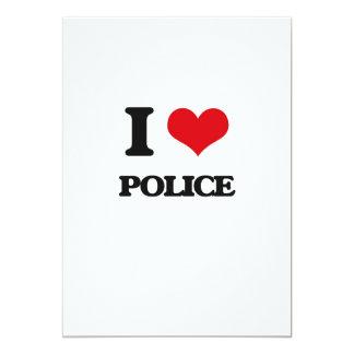 """I Love Police 5"""" X 7"""" Invitation Card"""