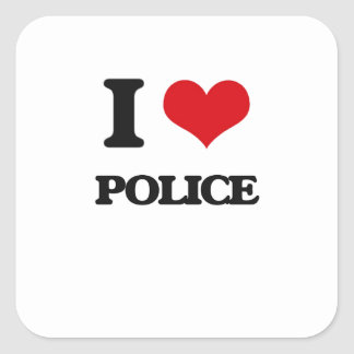 I Love Police Square Sticker