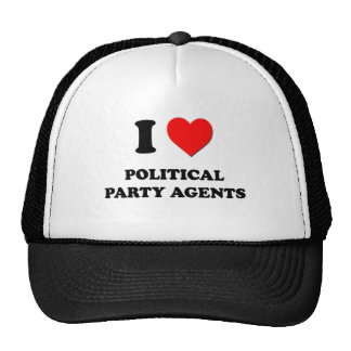 I Love Political Party Agents Hats