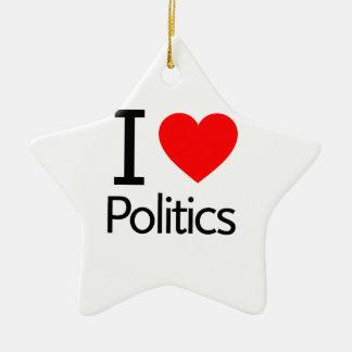 I Love Politics Ceramic Ornament