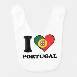 I Love Portugal Portuguese Flag Heart Bib