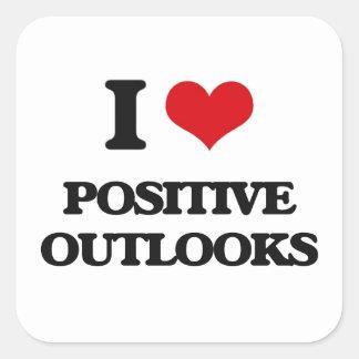 I Love Positive Outlooks Square Sticker