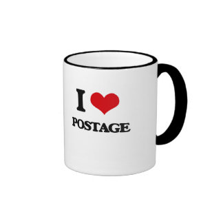 I Love Postage Ringer Mug