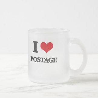 I Love Postage Frosted Glass Mug
