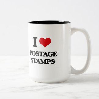 I Love Postage Stamps Two-Tone Mug
