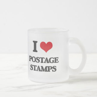 I Love Postage Stamps Frosted Glass Mug