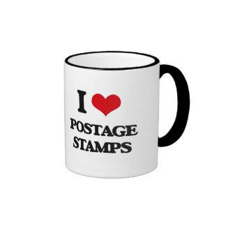 I Love Postage Stamps Ringer Mug