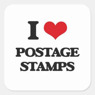 I Love Postage Stamps Square Sticker