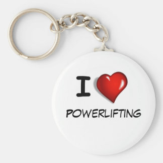 I love Powerlifting Basic Round Button Key Ring