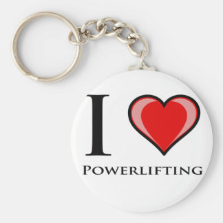 I Love Powerlifting Key Ring
