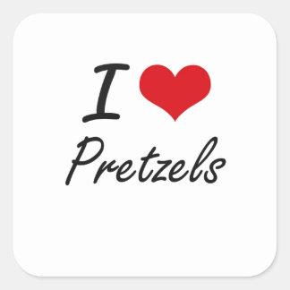I Love Pretzels artistic design Square Sticker