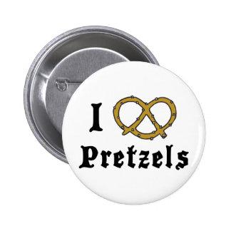 I Love Pretzels Pinback Buttons