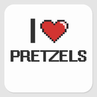 I Love Pretzels Square Sticker