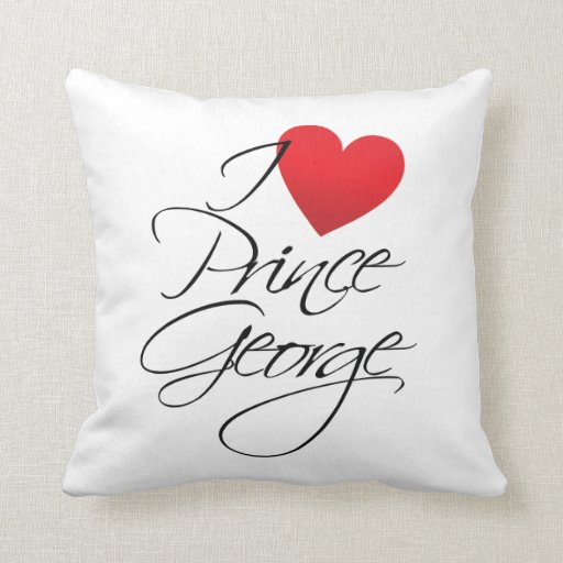 I Love Prince George, Red Heart Throw Pillows