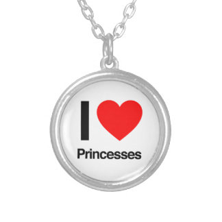 i love princesses round pendant necklace