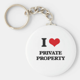 I Love Private Property Key Ring