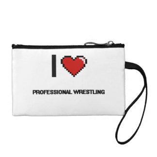 I Love Professional Wrestling Digital Retro Design Change Purses