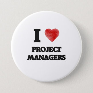I love Project Managers (Heart made from words) 7.5 Cm Round Badge