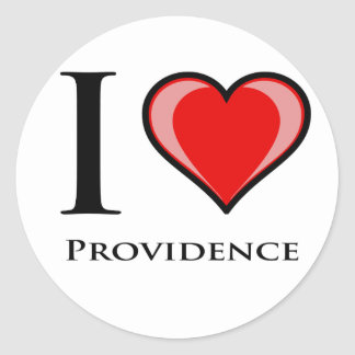 I Love Providence Round Sticker