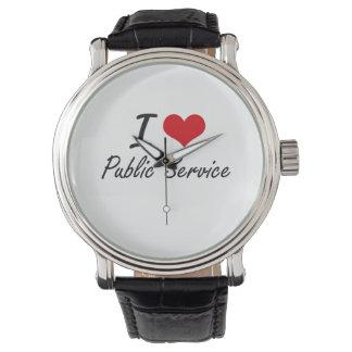 I Love Public Service Wrist Watches