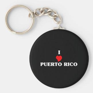 I Love Puerto Rico Basic Round Button Key Ring